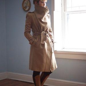 BCBG Max Azria Camel Wool Belted Coat Sz Small